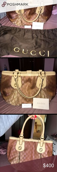 ‼️AUTHENTIC LIMITED EDITION GUCCI HANDBAG‼️ The beautiful limited addition Gucci handbag is made from a beautiful material that reflects in the light and shimmers off beautiful pink and gold sparkles and natural leather that is scratch resistant.The bag was super limited edition and NEVER WORN!!! A true art piece to add to anyone's collection. It's a medium sized bag able to fit all the necessities such as a wallet, keys, a phone, makeup back, umbrella, and much more! EVERYTHING IN PICTURES…
