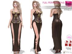c07f444244 Second Life Marketplace - Full Perm MI Front Double Slits Spartan Dress  FITMESH - Slink -