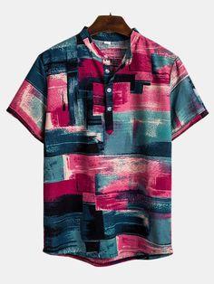 Mens Fashion Colorblock Printed Casual Short Sleeve Henley Shirt - Men Henley Shirt - Ideas of Men Henley Shirt Henley Shirts, Loose Shirts, Shirt Blouses, Tee Shirt Homme, T Shirt, Beach Shirts, Short Sleeve Blouse, Short Sleeves, Casual Shirts