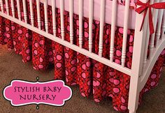 I used this pattern to make the crib skirt in my nursery. Easy & Fun. Mine is black & yellow.