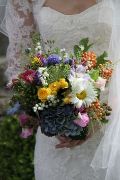 wild summer flower wedding bouquet