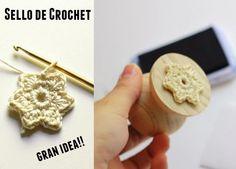 sello para grabar con motivo de crochet diy