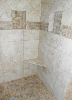 Preformed shower niche and shower seat. Perfect for clutter-free showers. On sale on Sell for a combination ready to tile shower niche and seat. Shower Seat, Shower Niche, Shower Enclosure, Walk In Shower, Bathroom Layout, Small Bathroom, Bathroom Ideas, Bathroom Organization, Zen Bathroom