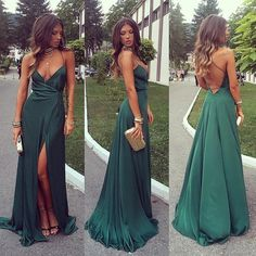 sexy v neck long prom dresses,side slit evening party dress,green backless forma. - - sexy v neck long prom dresses,side slit evening party dress,green backless formal dresses 2019 New Collection Models Ladies-Receive New and Up-to-Date. Dark Green Prom Dresses, Prom Dresses For Teens, Elegant Prom Dresses, Gala Dresses, Homecoming Dresses, Evening Dresses, Party Dresses, Sexy Dresses, Summer Dresses