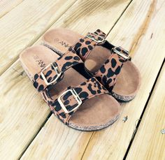 Cute Birkenstock look a likes! White or leopard you can't go wrong!