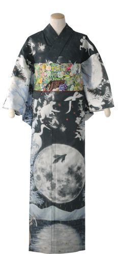 It's a yukata. With a moon on it. You're welcome. From Takashimaya. This looks similar to the window design they had last winter, with animals, florals and princess/Alice in Wonderland/Edwardian...