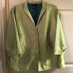 Green shirt jacket-18/20 Shiny bright chartreuse green nylon/polyester blend; cuffed 3/4 sleeves jacket. 5 buttons & v-neck collar. Catches the light & shines! Great over jeans,  black pants or skirts! Machine wash cold. Venezia Tops Button Down Shirts