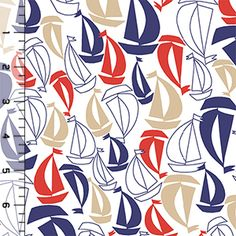 Vintage Sailboats on White Cotton Jersey Blend Knit Fabric