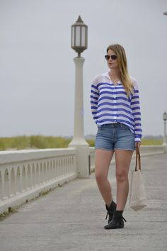 Britt+Whit: Whit pairs a striped Equipment blouse with denim shorts