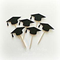 Glitter Graduation Cupcake Toppers, Graduation Cap Cupcake Topper, Mortar Board Cupcake Topper by PattyAntlesPrettys on Etsy
