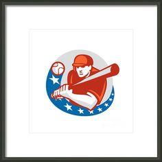 Baseball Player Batter Stars Circle Retro Framed Print By Aloysius Patrimonio