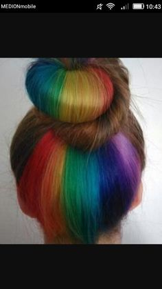 Rainbow Hair Color Techniques 123146 Rainbow Hair Underneath Cuts & Color I Iike Pint. - Hair - rainbow Stills Hidden Hair Color, Hair Color Dark, Cool Hair Color, Hidden Rainbow Hair, Retro Wedding Hair, Multicolored Hair, Rides Front, Hair Color Techniques, Hair Dye Colors