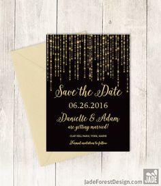 Elegant Save The Date DIY / Great Gatsby Bokeh by JadeForestDesign