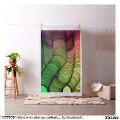 COTTON fabric with abstract colorful image