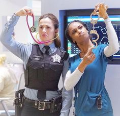 Marina Squerciati and Yaya DaCosta #ChicagoPD #ChicagoMed