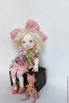 Купить Танечка - девочка, кукла интерьерная, кошка игрушка, бант, кукла ручной работы, озорная