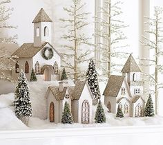 Lit German Glitter Village Houses, Benefiting Give A Little Hope Campaign #potterybarn