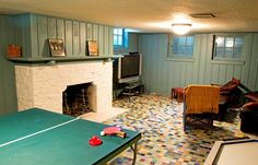 Holy cow, look at the tile in this Wisconsin  Rec Room!