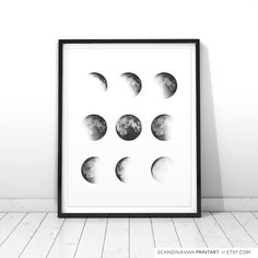 Moon phase moon phase print moon phase wall by ScandinavianWalls