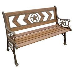 Natural Wood Tone Patio Park Bench