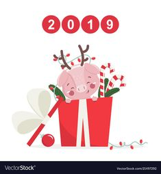 Happy new year greeting card with cute pig vector image on VectorStock Happy New Year Banner, Happy New Year Cards, Happy New Year Greetings, New Year Greeting Cards, Happy New Year 2019, New Years Prayer, Pig Illustration, Year Of The Pig, Cute Pigs