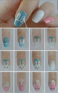 Holiday Easter Nails Bunny Face Tutorial - 12 Easter-Inspired Nail Art Designs and Tutorials | GleamItUp