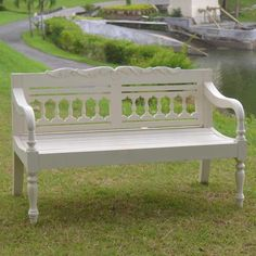 JazTy Kids Outdoor Painted Ivory Bench $219.99