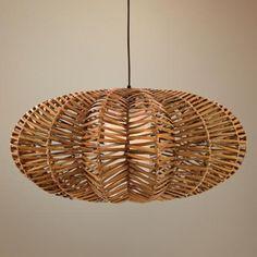 Antigua Rattan Flat Round Pendant Light | LampsPlus.com…