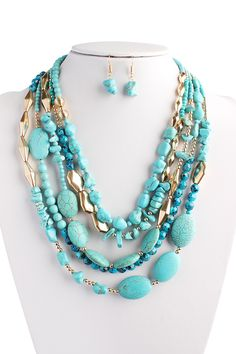 Turquoise Multi Strand Necklace Set