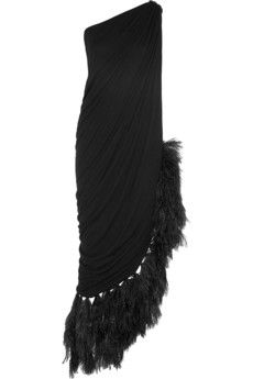 Lanvin Feather-trimmed jersey gown | NET-A-PORTER Lo quiero!!!