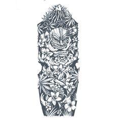 Custom Polynesian sleeve tattoo design