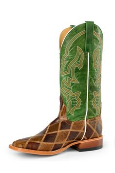 Horsepower Patchwork Emerald Men's Cowboy Boots - HeadWest Outfitters