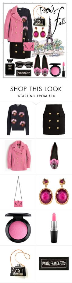 """Untitled #380"" by meryflower ❤ liked on Polyvore featuring La Tour Eiffel, Kenzo, Balmain, J.Crew, Jade Jagger, MAC Cosmetics and Yves Saint Laurent"