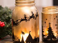 Create a Christmassy ambience in your home with DIY Christmas jar luminaries … Christmas Art For Kids, Christmas Mason Jars, Diy Christmas, Mason Jar Projects, Mason Jar Candles, Christmas Paintings, Jar Crafts, Pots, Christmas Decorations