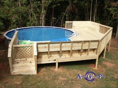 like the deck but would need to be stained in a darker color this is perfect above ground pool