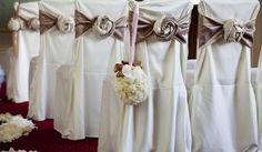 Unusual Tie Back Ideas For Western Wedding Reception Inexpensive Wedding Chair Cover Ideas Chair Cover Hire, Cheap Chair Covers, White Chair Covers, Chair Back Covers, Wedding Reception Chairs, Wedding Chair Sashes, Wedding Chair Decorations, Flower Decorations, Wedding Venues