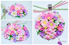 Gift Earrings Ring pendant Braccelet Little flowers Pink White Violet Lilac Green Yellow Gift to Woman's Day Polymer clay Handmade jewelry