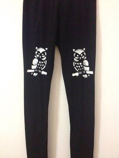 Black leggings for women  Handmade OWL leggings  by COOLLeggings