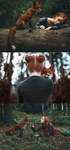 ❤️ Redhead beauty❤️ Fairytale fox photos by Alexandra Bochkareva Foto Fantasy, Fantasy Art, Animals And Pets, Cute Animals, Character Inspiration, Character Design, Fantasy Photography, Tier Fotos, Pretty Pictures