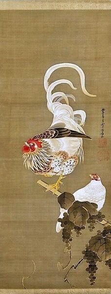 伊藤若沖筆 葡萄双鶏図 Hen and Rooster with Grapevine Artist: Itō Jakuchū (Japanese, Period: Edo period Chinese Painting, Chinese Art, Art Chinois, Fine Art Prints, Framed Prints, Japan Painting, Art Asiatique, Chicken Art, Art Japonais