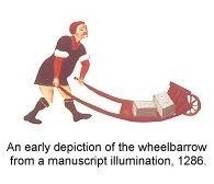 medieval wheelbarrow from illuminated manuscript circa 1286