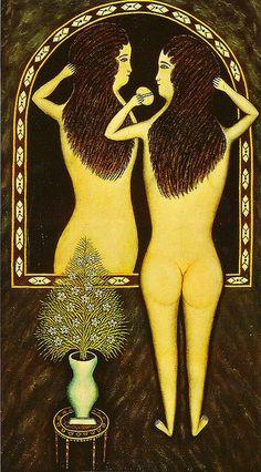 Girl in a mirror by Morris Hirshfield (1940) -   outsider art, art brut, naive art, innocent art