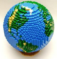 Lego globe ~ hands-on activities bring geography other subjects to life. Big Lego, Lego Sculptures, Lego Challenge, Amazing Lego Creations, Lego Activities, Lego Craft, Lego Room, Lego Design, Lego Worlds