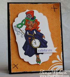 Celebrate Halloween Steampunk card. All stamps by Stampendous!