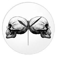 Profile Skull Black and White Clock