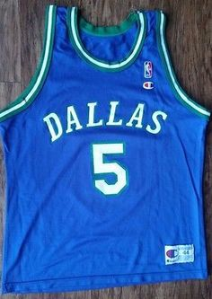 ... Jason Kidd 5 Dallas Mavericks Champion Jersey Vintage NBA Rare Mavs  Mens 44 ... ecf70e8f8