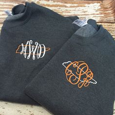 This monogrammed state love sweatshirt is perfect for any Tennessee loving girl! Not a Vol fan??? All other states are available!  Sweatshirt is crewneck, unisex fit!  ************************************************************************* Please leave the following at checkout in the Notes to SK Creations:  1. State 2. Monogram in the order you want it to appear. 3. Thread color for state/thread color for monogram   Please be sure to see additional pictures for sizing info and colors…