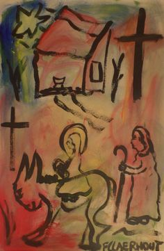 The Holy Family. Mixed media on cardboard: 90 cm x 60 cm African Artwork, South African Artists, Holy Family, Artworks, Mixed Media, Painting, Sagrada Familia, Painting Art, Paintings