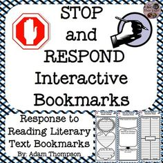 "These response to reading interactive bookmarks give students a convenient way to ""Stop and Respond"" to text.  Students take notes about characters, events, settings, and more on the graphic organizers featured on these 7x3 bookmarks.  Students can stop and use these bookmarks at any place in a book; at the ends of chapters, at setting changes, after meeting a new character, after important events, or even at the end of allotted reading time as an exit ticket.Each page in this document has…"
