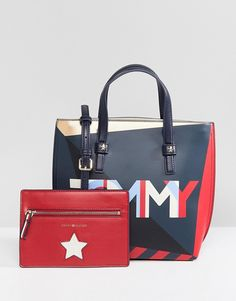 Tommy Hilfiger Multi Logo Tote Bag with Pouch